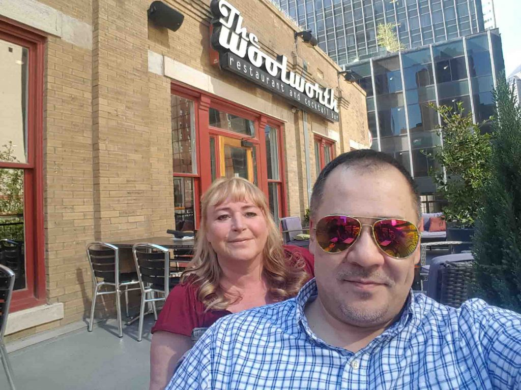 Dr Ray &  Jean Kadkhodaian outside The Woolworth Restaurant